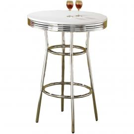Coaster 2300 White & Chrome Bar Table Only