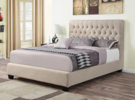 Chloe 300007F Full upholstered bed in oatmeal woven fabric