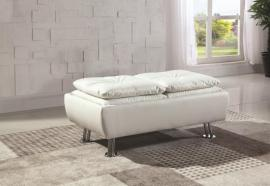 White Leatherette 300293 Storage Ottoman
