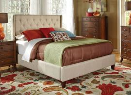Owen 300332KW California King Demi-wing bed upholstered in oatmeal fabric
