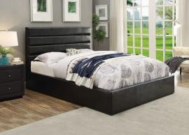 Riverbend 300469Q Queen Upholstered Storage Bed In Black Leatherette