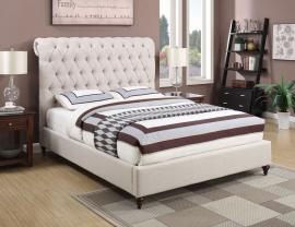 Devon 300525KW California King Bed Upholstered in Beige Fabric