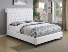 Devon 300526Q Queen Bed Upholstered in White Woven Fabric