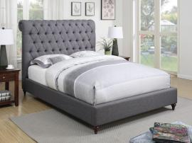 Devon 300527KW California King Bed Upholstered in Grey Woven Fabric