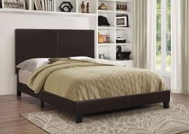 Muave 300557F Full Bed upholstered in dark brown leatherette