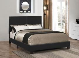 Muave 300558F Full Bed upholstered in black leatherette