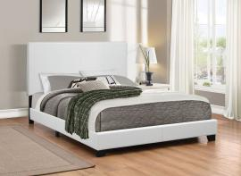 Muave 300559F Full Bed upholstered in white leatherette