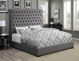 Camille 300621KE Eastern King Upholstered Bed in Grey Woven Fabric