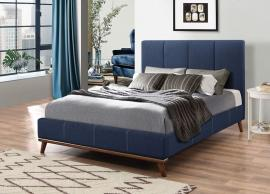 Charity 300626KW California King Mid century style bed upholstered in blue woven fabric