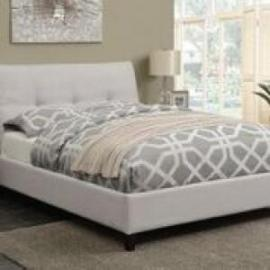 Amador 300698Q Queen bed upholstered in beige fabric
