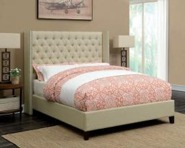Benicia 300706KW California King Upholstered Beige Bed Frame
