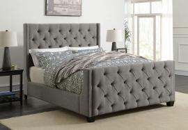 Palma 300708F Full Demi-wing bed upholstered in grey fabric