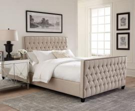 Saratoga 300714KW California King Upholstered Bed Oatmeal-7102