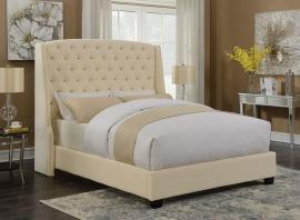Pissarro 300715KW California King Demi-wing bed upholstered in cream fabric-7513