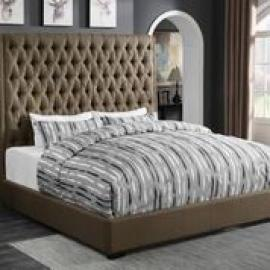 Camille 300721Q Queen Upholstered Bed in Brown Woven Fabric