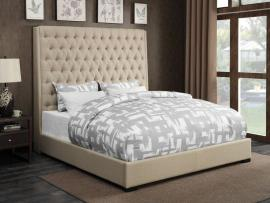 Camille 300722KW California King Upholstered Bed in Cream Woven Fabric