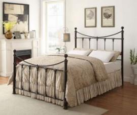 Silas 300735KW California King Metal Bed Headboard and footboard finished in black with decorative accents finished in antique brass