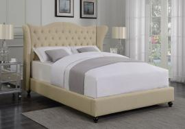Coronado 300738F Full Demi-wing bed upholstered in beige woven fabric