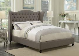 Newburgh 300739KW California King Demi-wing bed upholstered in light grey woven fabric
