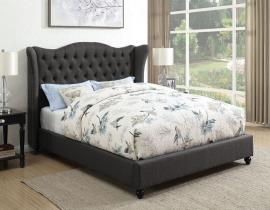 Newburgh 300740F Full Demi-wing bed upholstered in slate grey woven fabric