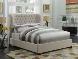 Newburgh 300744Q Queen Demi-wing bed upholstered in beige woven fabric
