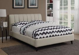 Portola 300754KW California King Mid century modern bed upholstered in oatmeal chenille