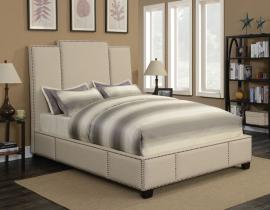 Lawndale 300796F Full Upholstered bed in beige fabric