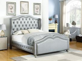 Belmont 300824KE Eastern King Demi-wing bed upholstered in metallic leatherette