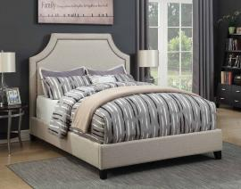 Cantillo 301093KE Eastern King Bed upholstered in oatmeal fabric