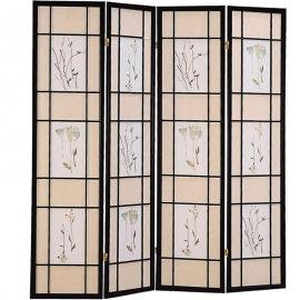 Four Panel Screen with Floral Print Rice Paper By Coaster 4407