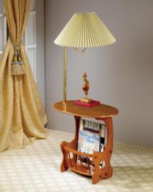 Warm Brown Magazine Table with Magazine Rack and Table Lamp 4501
