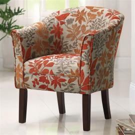 Accent Chair by Coaster 460407 Beige/Red/Orange Woven Fabric