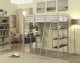 Escalon Collection 461081 Silver Twin Workstation Bunk Bed