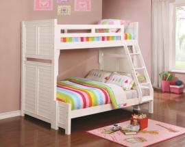Edith Collection 461101 White Twin/Full Bunk Bed