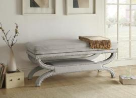 Light Grey Upholstered 500004 Bench with Plush Top