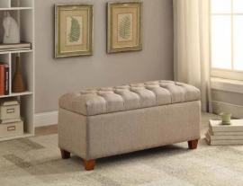 Taupe Fabric 500064 Storage Bench/Ottoman