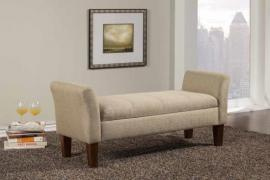 Tan Linen Like Fabric 500076 Storage Bench
