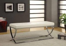 Contemporary Style 501157 White Leatherette Bench