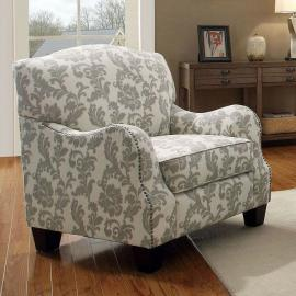 Coaster 503253 White/Grey Accent Chair