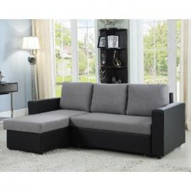 Everly 503929 Grey/Black Sectional with Pull Out Bed and Storage Chaise