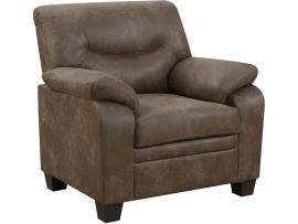 Meagan Collection by Coaster 506563 Brown Coated Microfiber Fabric Chair