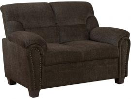 Clemintine by Coaster 506572 Brown Chenille Fabric Loveseat