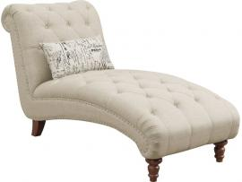 Josephine Collection by Coaster 508184 Oatmeal Linen Fabric Chaise