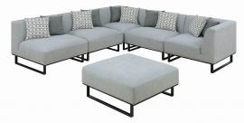 "Corrine by Scott Living Grey Fabric 6 PC Modular ""L"" Sectional 551331 by Coaster"