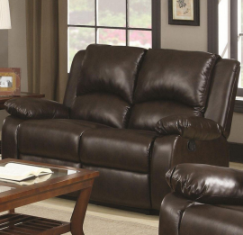 Boston Two-Tone Brown Motion Reclining Loveseat 600972 by Coaster