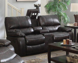 Willemse Dark Brown Leatherette Motion Reclining Loveseat 601932 by Coaster
