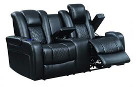 Delangelo by Coaster 602302P Black Padded Breathable Leatherette Power Headrest & Power Reclining Loveseat