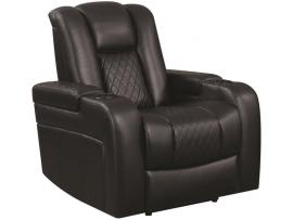 Delangelo by Coaster 602303P Black Padded Breathable Leatherette Power Headrest & Power Recliner