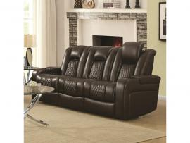 Delangelo by Coaster 602304P Brown Padded Breathable Leatherette Power Headrest & Power Reclining Sofa-14915