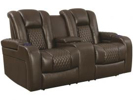 Delangelo by Coaster 602305P Brown Padded Breathable Leatherette Power Headrest & Power Reclining Loveseat